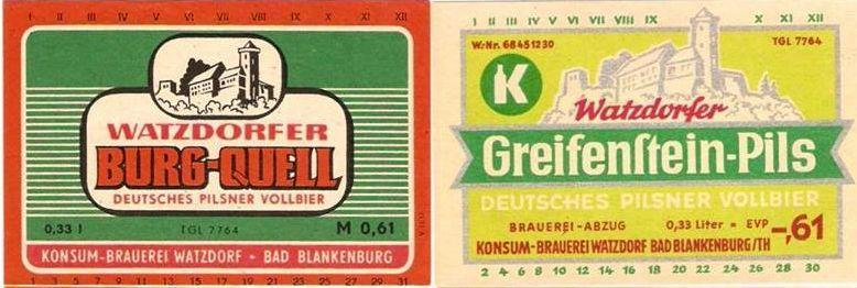 Watzdorfer Bieretiketten aus DDR-Zeit