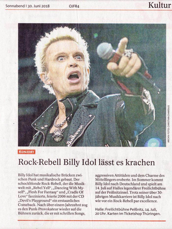 Billy Idol in Halle (Saale), Ostthüringer Zeitung vom 30.06.2018